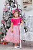 Girl in a beautiful pink dress Stock Photography