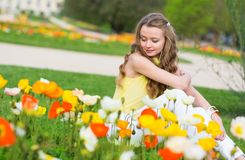 Girl with beautiful poppies Stock Images