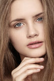 Girl with beautiful shiny clean face, health skin Stock Photo