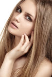 Girl with beautiful shiny long hair, health skin royalty free stock photo