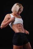 Girl with a beautiful sports inflated belly Stock Photography
