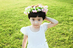 Girl. The beautiful girl to play on the lawn Stock Image