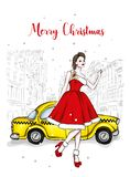 A girl in a beautiful vintage dress. Vector illustration. Clothing and accessories, vintage and retro. Taxi and the city. New Year. `s and Christmas vector illustration