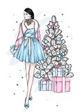 A girl in a beautiful vintage dress. Vector illustration. Clothing and accessories, vintage and retro. New Year`s and Christmas. A girl in a beautiful vintage stock illustration