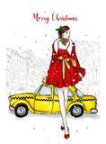 A girl in a beautiful vintage dress. Vector illustration. Clothing and accessories, vintage and retro. Taxi and the city. New Year. `s and Christmas royalty free illustration