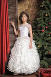 Girl in a beautiful white dress at the Christmas Stock Photos