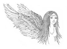 Girl with beautiful wings.Graphic drawn pencils Stock Photo