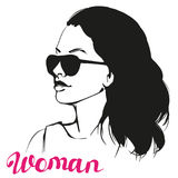 Girl , beautiful woman face hand drawn vector illustration sketch Royalty Free Stock Photo