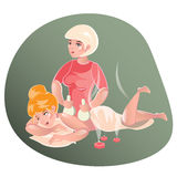 Girl in beauty salon. Illustration of Girl Lying on a Spa Bed While Being Treated With a Poultice stock illustration