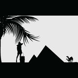Girl beauty silhouette front of pyramid travel illustration Royalty Free Stock Images