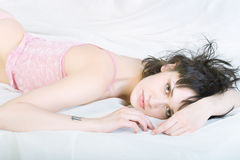 Girl in the bed. Stock Images