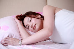 Girl on bed Royalty Free Stock Photography