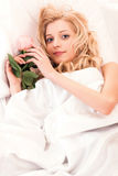 Girl in the bed Royalty Free Stock Photography