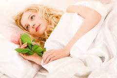 Girl in the bed Royalty Free Stock Photos