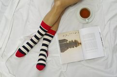 Cozy evening with a book and tea Stock Photography