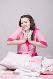 Girl in bed happy obtained money Royalty Free Stock Images
