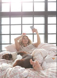 Girl in bed Royalty Free Stock Images