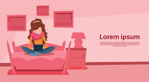 Girl In Bed Room Chat Digital Device Laptop Social Network Communication Stock Photography