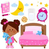 Girl bed time vector collection. Cute girl getting ready for bed at night. Vector illustration elements Stock Photos