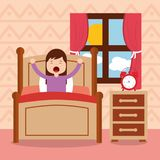 Girl in bed waking up in the morning. Vector illustration Stock Images
