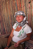 Girl in Bedouin tent Stock Images