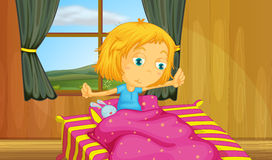 Girl and bedroom. Illustration of a girl waking up in a bed Royalty Free Stock Images