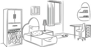 Girl Bedroom Sketch and Outline Illustration. For many purpose both digital, multimedia or print stuff. EPS 10 format file Stock Photography