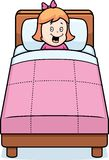 Girl Bedtime. A cartoon girl in bed and ready to go to sleep Stock Image