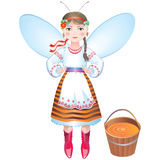 Girl-bee with a bucket of honey Stock Image