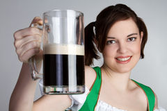 Girl With Beer. Irish smiling girl with beer Stock Photography
