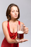 Girl with a beer Royalty Free Stock Images