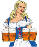 Girl with beer. The blonde girl with beer in a traditional dress Royalty Free Stock Photography