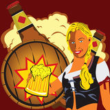Girl with a beer stock photography