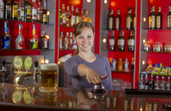 Girl with beer Royalty Free Stock Photography