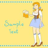 Girl with a  beer celebrating Oktoberfest Royalty Free Stock Photo