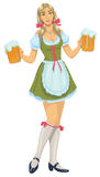 Girl with beer. A cheerful Bavarian waitress holds beer mugs Stock Photos
