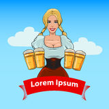 Girl with beer color Stock Images