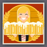 Girl with Beer Mug Oktoberfest Poster Festival Celebration Symbol Flat Design Vector Illustration. Girl Beer Mug Oktoberfest Poster Festival Celebration Symbol Royalty Free Stock Photos
