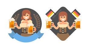 Girl with beer oktoberfest style. Stock Images