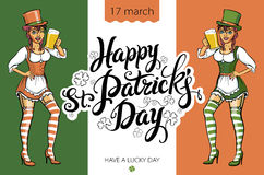 Girl with beer silhouette against irish colors. St. Patrick's Day Party Stock Images