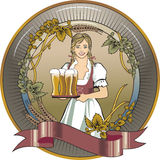 Girl beer waitress Royalty Free Stock Images