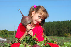 The girl with a beet stock images