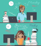 Girl at the Beginning and at the And of the Week. Woman fresh and ready to work at Monday morning and thick and tired at Friday evening banner. Girl at the stock illustration
