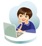 Girl behind the computer Royalty Free Stock Photo