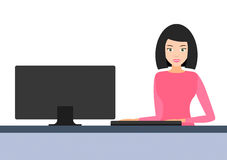 Girl behind the computer.  icon. Royalty Free Stock Photography