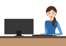 Girl behind the computer.  Royalty Free Stock Images