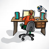The girl behind the desk Stock Images
