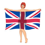 Girl behind the flag Royalty Free Stock Photo