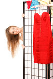 Girl behind the folding screen Stock Photography