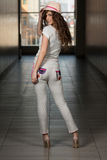 Girl From Behind In Track Suit In White Royalty Free Stock Photo